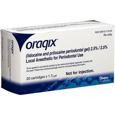 ORAQIX 20 Doses Periodontal GEL Non-Injectable Local Anest. (DENTSPLY) #66312020CA