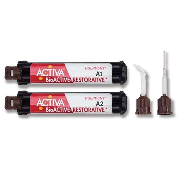 ACTIVA BioACTIVE-RESTORATIVE #VR2A1   Value Refill 2 x 5ml/8gm syr + 40 automix tips with bendable 20 gauge metal cannula
