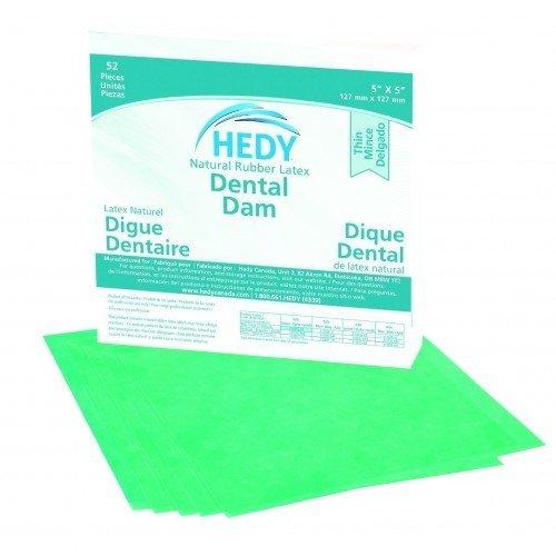 DENTAL DAM 5″x5″ GREEN THIN   (52) Hedy #310DG-5T